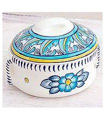 ceramic soup bowl with lid, 'bermuda' (guatemala)