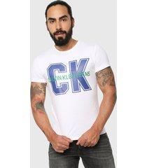camiseta blanco-azul-verde calvin klein