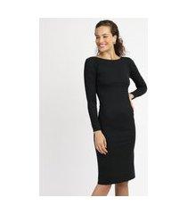 vestido feminino midi canelado manga longa preto