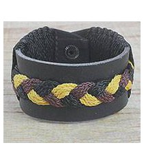 men's leather wristband bracelet, 'braided harvest in black' (ghana)