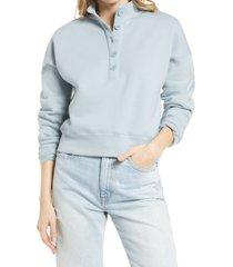 women's reformation marla button placket sweatshirt, size small - blue