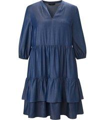 jurk elastiek in de 3/4-mouwen van emilia lay denim