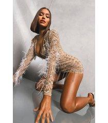 premium versierde bodycon jurk met veren