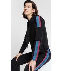 sweatshirt with bands of lurex - black - s
