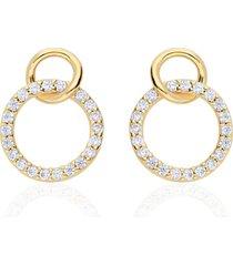 orecchini a lobo in oro giallo doppio cerchio fantasia con zirconi per donna