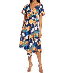 chi chi london abstract print wrap dress, size 8 in navy at nordstrom
