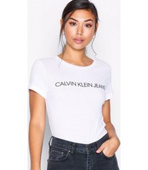 calvin klein jeans core institutional logo slim fit tee t-shirts bright white