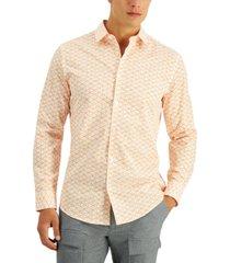 alfani men's regular-fit diamond geo-print shirt, created for macy's
