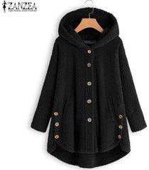 zanzea botones para mujer abrigos de polar de manga larga sudaderas con capucha cálidas para mujer -negro