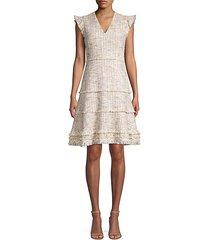 loraine fringed tweed flare dress