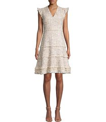 loraine fringed tweed flare dress