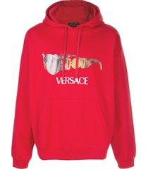 versace sunglasses print hoodie - red