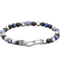'classic chain' jasper onyx sterling silver bead bracelet