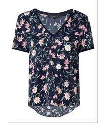 blusa dudalina manga curta decote v estampa floral feminina (estampado floral, 44)
