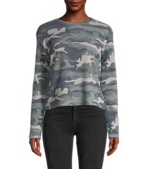 pure navy women's camouflage-print cotton-blend sweater - faded camo - size l