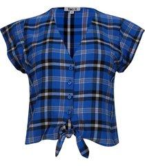 blusa a cuadros con amarre color azul, talla 10