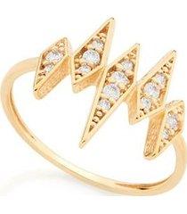 anel skinny ring losangos com zircônias rommanel