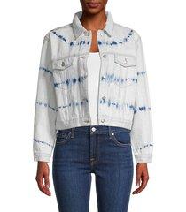 525 america women's cropped denim jacket - light blue - size l