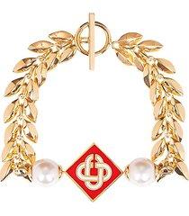 o thongthai x casablanca gold-plated pearl pendant bracelet