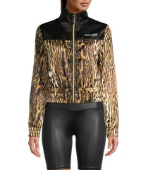 roberto cavalli sport women's ocelot-print track jacket - brown beige - size l