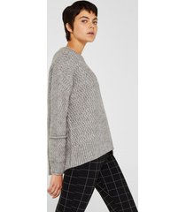 sweater textura con lana gris esprit
