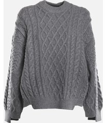 stella mccartney oversized pullover in cotton blend with asymmetrical hem