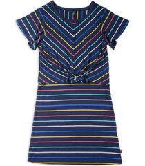 tommy hilfiger big girl's yarn dye stripe tie-front dress