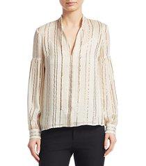metallic v-neck blouse