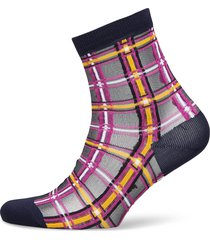 dagmar multi check sock lingerie socks footies/ankle socks blå becksöndergaard
