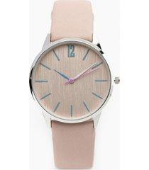 reloj elegante acero detalles rosa millam