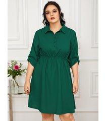 yoins plus talla classic cuello con cordón cierre con botones delanteros diseño 3/4 longitud mangas vestido