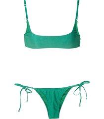 amir slama ribbed bikini set - green
