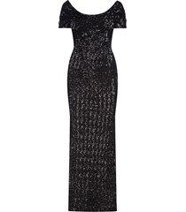 dolce & gabbana cowl neckline sequinned gown - black
