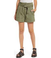 women's sts blue high waist paperbag shorts, size 26 - green