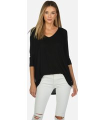 dylan core v-neck draped tee - black l