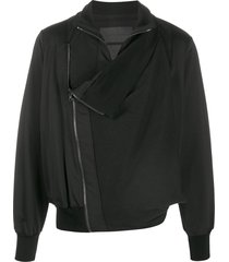 fumito ganryu draped-front bomber jacket - black