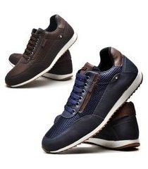 kit 02 pares de sapatênis sapato casual juilli masculino 1100l azul e marrom.