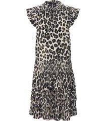 mouwloze jurk met ruches en luipaardprint van steffen schraut wit