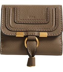 chloe marcie leather french wallet in army green at nordstrom
