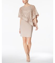 r & m richards sequined cape sheath dress