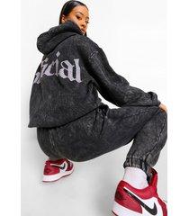 official acid wash gebleekte hoodie met rugopdruk, charcoal