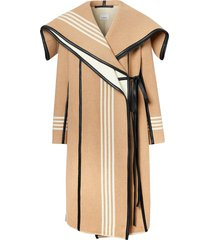 burberry striped wrap coat - brown