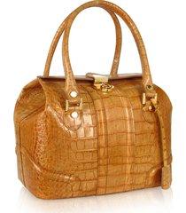 l.a.p.a. designer handbags, sand croco stamped italian leather tote bag
