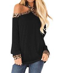 camiseta de manga larga con cuello halter y patchwork de leopardo