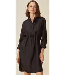 vestido amaro midi com cintura ajustã¡vel preto - preto - feminino - dafiti