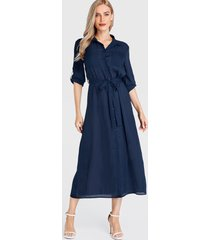 yoins navy belt design classic collar long sleeves dress