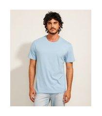 camiseta básica manga curta gola careca azul claro