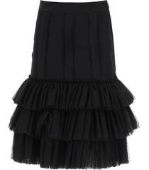 moschino satin skirt with tulle flounces