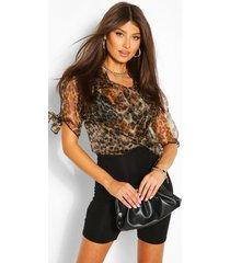 organza shirt met luipaardprint en strik op mouwen, bruin