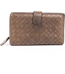 bottega veneta intrecciato leather wallet brown sz: